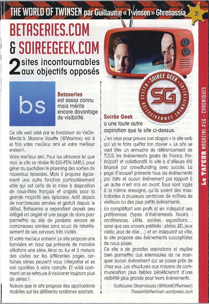 Betaseries et Soirée Geek tafeur magazine Article Guillaume Ghrenassia www.ghrenassia.com