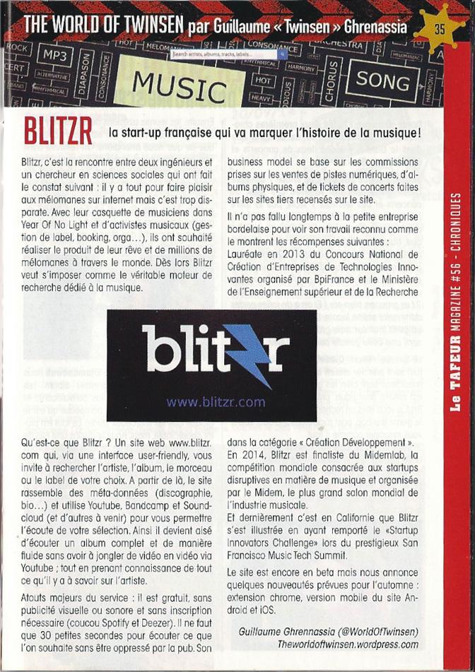 Tafeur magazine Blitzr article Guillaume Ghrenassia www.ghrenassia.com